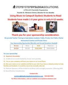 dyslexia solutions sponsor sheet